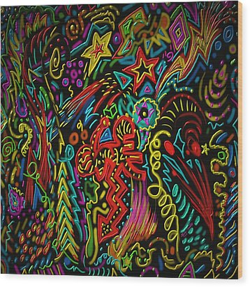 Wood Print featuring the painting Gone Wild by Kevin Caudill