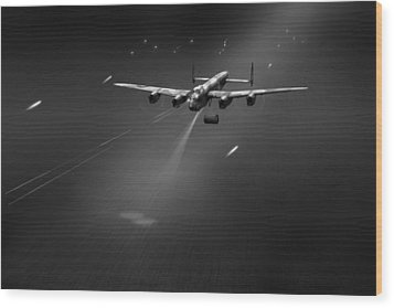 Wood Print featuring the photograph Goner From Dambuster J-johnny Bw Version by Gary Eason