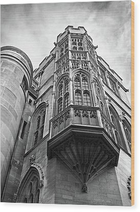 Wood Print featuring the photograph Gonville And Caius College Library Cambridge In Black And White by Gill Billington