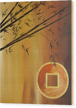 Wood Print featuring the painting Good Fortune Bamboo 2 by Dina Dargo