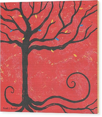 Good Luck Tree - Left Wood Print by Kristi L Randall