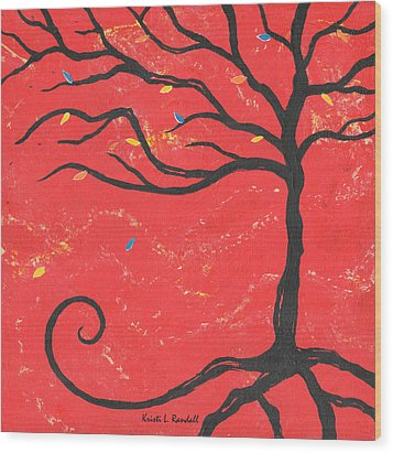 Good Luck Tree - Right Wood Print by Kristi L Randall