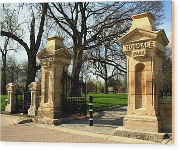Goodale Park Gateway Wood Print by Laurel Talabere