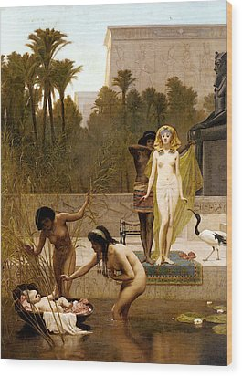 Goodall Frederik The Finding Of Moses Wood Print by Frederick Goodall