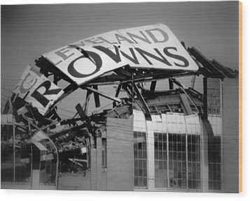 Goodbye Cleveland Stadium Wood Print