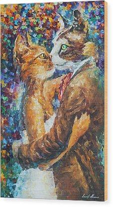 Goodbye My Miau  Wood Print by Leonid Afremov
