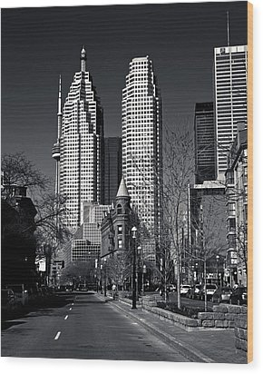 Gooderham Flatiron Building And Toronto Downtown Wood Print by Brian Carson