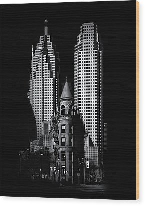 Wood Print featuring the photograph Gooderham Flatiron Building And Toronto Downtown No 2 by Brian Carson