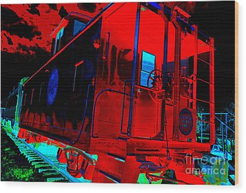 Goodnight Caboose Wood Print by Chuck Taylor