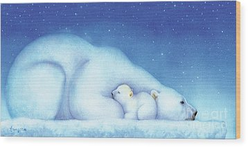 Arctic Bears, Goodnight Nanook Wood Print by Tracy Herrmann