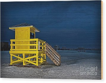 Goodnight Siesta Key Wood Print