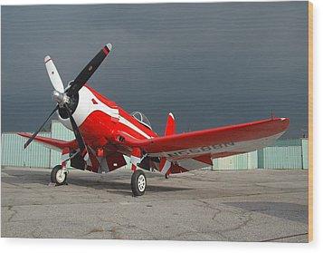 Goodyear F2g-1 Corsair N5588n Wood Print by Brian Lockett