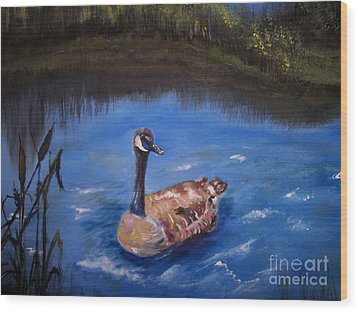 Wood Print featuring the painting Goose by Leslie Allen