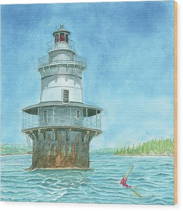 Goose Rocks Light At High Tide Wood Print by Dominic White