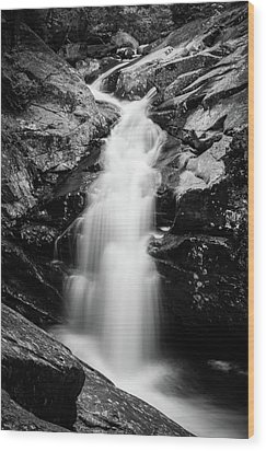 Gorge Waterfall In Black And White Wood Print