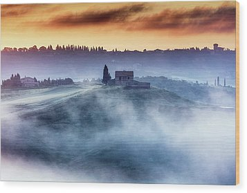 Gorgeous Tuscany Landcape At Sunrise Wood Print by Evgeni Dinev