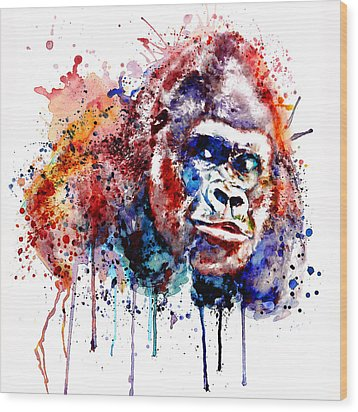 Wood Print featuring the mixed media Gorilla by Marian Voicu