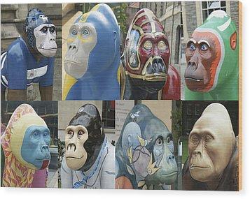 Gorillas In The Street Wood Print