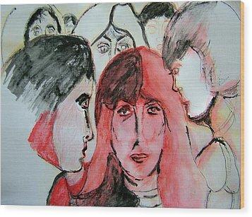 Gossip Wood Print by Judith Redman
