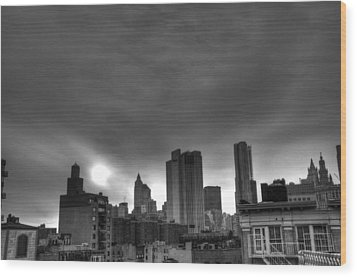 Gotham Black And White Wood Print by Randy Aveille
