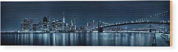Gotham City Skyline Wood Print by Sebastien Coursol