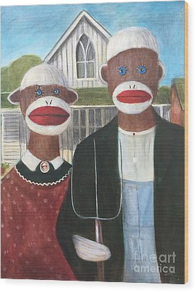 Wood Print featuring the painting Gothic American Sock Monkeys by Randol Burns