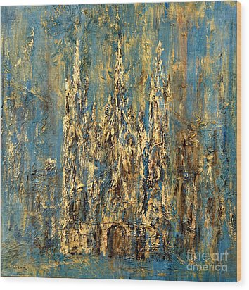 Wood Print featuring the painting Gothic Church  by Arturas Slapsys