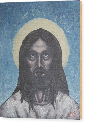 Wood Print featuring the painting Gothic Jesus by Michael  TMAD Finney