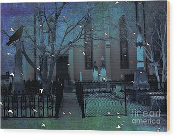 Gothic Surreal Ravens Crows Cemetery Landscape Wood Print by Kathy Fornal