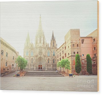 Gotic Cathedral  Of Barcelona Wood Print