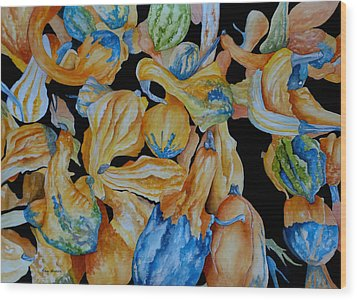 Gourds Galore Wood Print by Rosie Brown