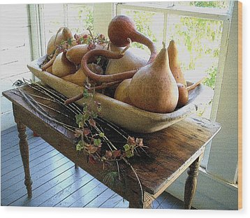 Gourds In Bowl Wood Print