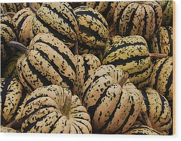 Gourds In White And Green Wood Print by Jame Hayes