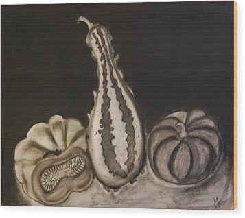 Gourds Wood Print by Michele Flannery