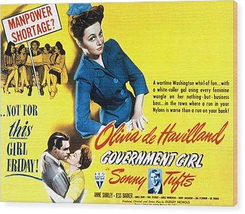 Government Girl, Olivia De Havilland Wood Print by Everett
