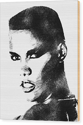 Grace Jones Bw Portrait Wood Print by Mihaela Pater
