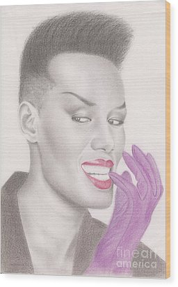 Wood Print featuring the drawing Grace Jones by Eliza Lo