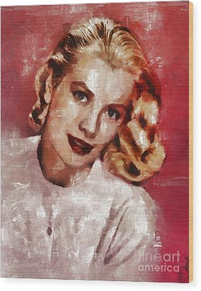 Grace Kelly, Actress And Princess Wood Print by Mary Bassett