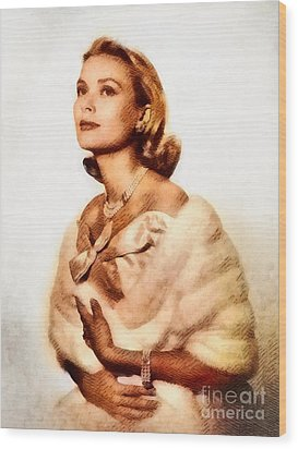 Grace Kelly, Vintage Actress By John Springfield Wood Print by John Springfield