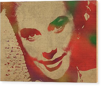 Grace Kelly Watercolor Portrait Wood Print