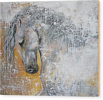 Abstract Horse Painting Graceful Beauty Wood Print by Jennifer Godshalk