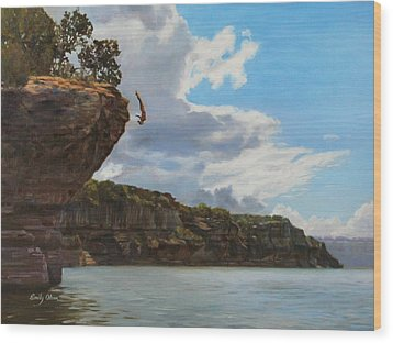 Graceful Cliff Dive Wood Print