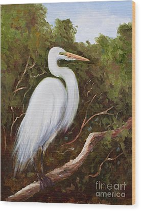 Graceful Egret Wood Print