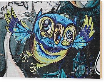 Graffiti Owl Wood Print