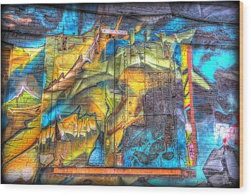 Wood Print featuring the photograph Grafiti Window by Michaela Preston