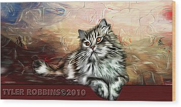 Grafitti Kitty Wood Print by Tyler Robbins