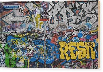 Grafitti On The U2 Wall, Windmill Lane Wood Print by Panoramic Images