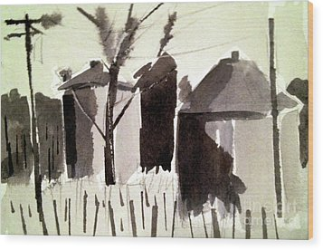 Wood Print featuring the painting Grain Silos Amid The Wheat by Charlie Spear