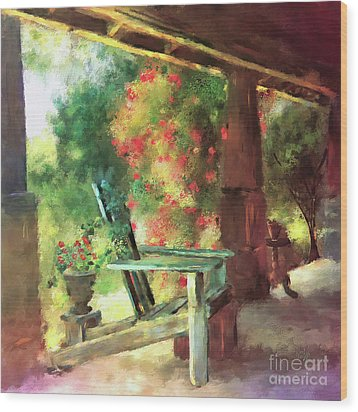 Wood Print featuring the digital art Gramma's Front Porch by Lois Bryan