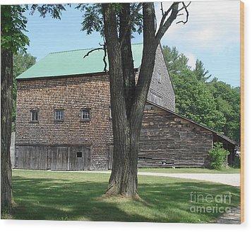 Grammie's Barn Through The Trees Wood Print by Kerri Mortenson